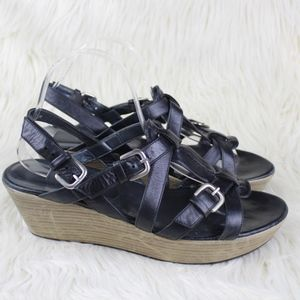 Stuart Weitzman Platform Wedge Strappy Sandals 9.5